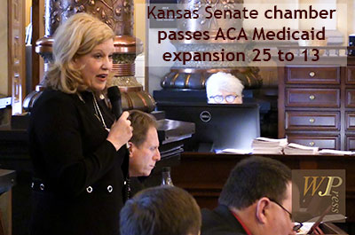 Kansas Senate chamber passes ACA Medicaid Expansion 25 to 13