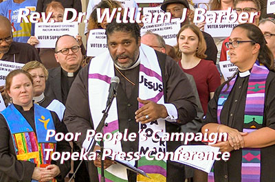 Rev. Dr. William J. Barber Topeka Press Conference 8/22/17 to launch the Poor People's Campaign in KS and MO
