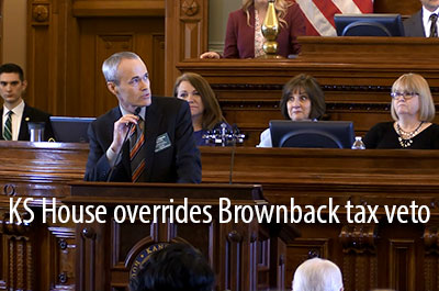 Kansas House votes to override Brownback veto of tax increase HB-2178
